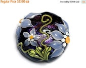 ON SALE 40% OFF New! 11838102 Lilac's Elegance Lentil Focal Bead - Handmade Glass Lampwork Bead