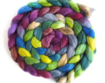 Organic Polwarth/Cultivated Silk Roving - Handpainted Spinning or Felting Fiber, Dime Store Novel