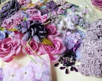 Large Lot of Lavender Lilac Purple Craft Embellishments, Lavender Roses, Lavender Lace, Millinery, Fabric Embellishments