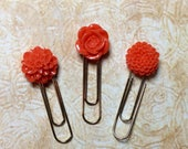 Deep Coral Flowers Paper Clip Bookmark Set