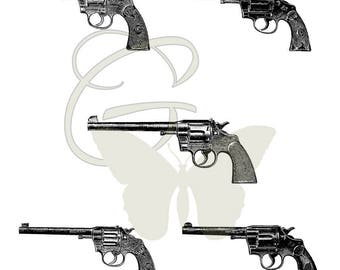 Gun Clip Art Collage Sheet Digital Download Vintage Printable Crafting Colt Revolvers
