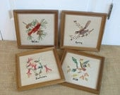 Vintage Embroidered Birds, Vintage Crewelwork, Bird Embroidery, Seasons Embroidery, Winter Spring Summer Fall Embroidery, Vintage Bird Lover