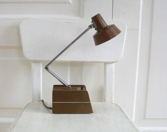 Mid Century Desk Lamp, Vintage Desk Lamp, Office Lamp, Vintage Metal Lamp, Gooseneck Lamp, Vintage Brown Desk Lamp, Small Brown Lamp