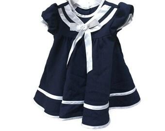 Vintage Baby Sailor Dress, Navy Blue Infant Dress, Vintage Girls Nautical Dress Baby Vintage Dress, Sailor Style Vintage Baby Girls Clothing
