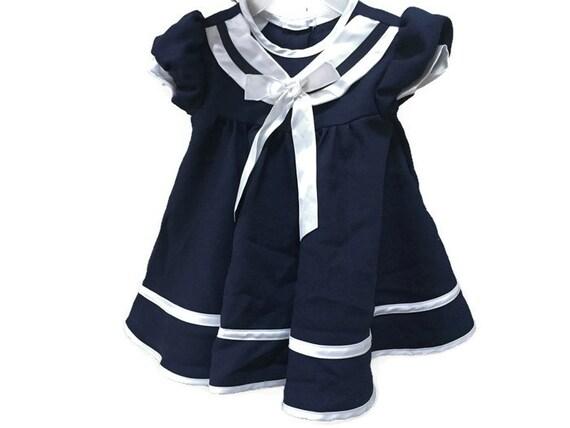Vintage Baby Sailor Dress Navy Blue Infant Dress Vintage