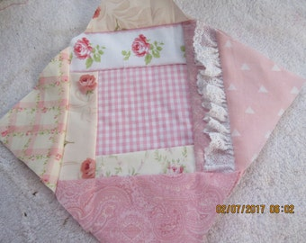 Quilt Blocks, Crazy Quilt, Shabby Chic, Pink and White, Baby Girl Quilt, 8.5 inches