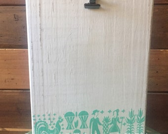 Amish Butterprint inspired Photo Block, Painted Wood Picture Frame or Recipe card holder