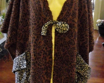 Fringed One Size Coat , Heavy Chenille Type Cotton-Rayon Oversize Coat , Leopard Trim Plus Size , Woven in India , Shabbyfab Exclusive