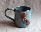 California Ceramic Mug in Stoneware with Blue Speckle Glaze