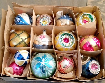 Box of Vintage Blown Glass Christmas Tree Ornaments from West Germany and Poland 1960's