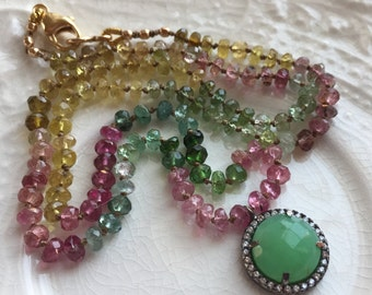 Tourmaline Hand Knotted Silk Necklace Tourmaline and Chrysoprase Necklace Chrysoprase Bezel