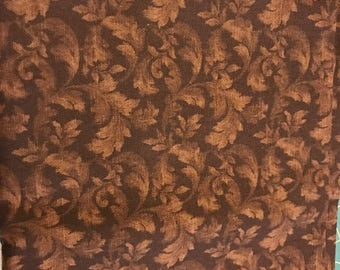 Brown Leaf fabric | Cotton Twill fabric | Remnant