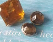 Vintage buttons 3 assorted 2 match citrine solitaire rhinestone style metal settings 1900- 1950's  (apr 316 17)