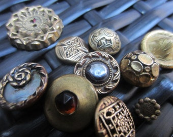 Vintage Buttons - molded metal, Victorian and other, small, to medium assorted designs, lot of 10 (jan 2-17)
