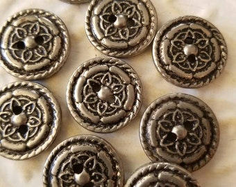 Vintage  Buttons - 9 medium-sized  matching, pressed flower metal design,  silver/pewter (feb114 17)