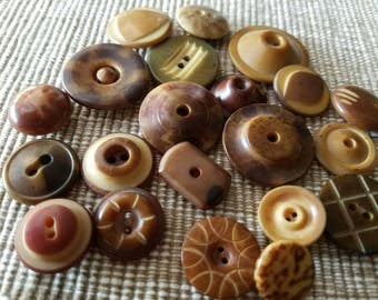 Vintage Buttons - Cottage chic lot of 21 brown, vegetable ivory novelty,  (feb 214 17)