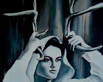 """Lady of the Woods, 8""""x10"""" High Quality Print on Satin Coated Paper of Original Acrylic Painting by Aleta Welling"""
