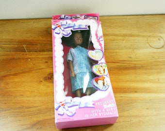 vintage 90s Pregnant Judith African American Mommy To Be Barbie Style Doll Baby in Tummy in Box NIB