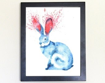 Rabbit Spirit Animal Art Print Watercolor 8x10