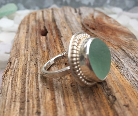 Handmade, seafoam english seaglass stacking ring with beaded wire on sterling silver