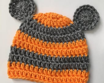 Newborn bear hat... orange and gray... photography prop.. ready to ship... baby bear hat