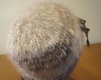 Angora Rabbit Hat, Handspun Chocolate Satin Angora, One of a Kind, Tortoiseshell English Angora Knit, Ribbon Tie fo Adjust, Extreme Comfort