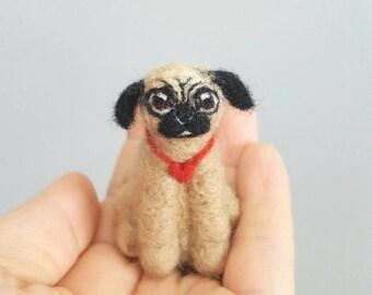 Needle felted pug ornament, Pug art, Custom dog ornament, Pug figurine, Dog memorial