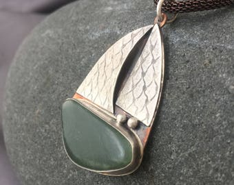 ooak silver and copper mixed metal Sailboat pendant with New Zealand greenstone