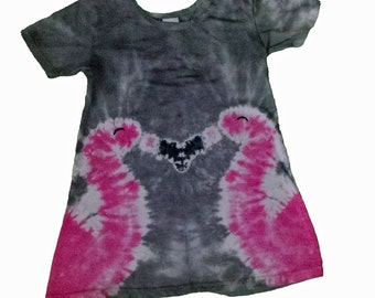 Flamingo Dress for Girls in Heather Grey with two Hot Pink Tie Dye Flamingos- Girls Tie Dye Dress- Girls Flamingo Dress