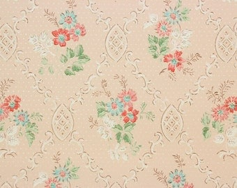 1920s Antique Vintage Wallpaper Pink and Aqua Bouquets on Pink by the Yard--Made in England