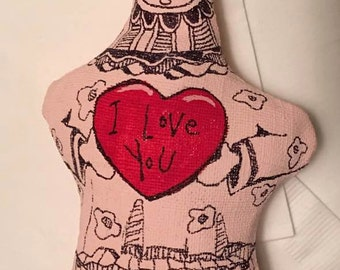 Valentine Stuffed doll handmade primitive child painted stuffed dolls I love you gift ONE DOLL girl child art