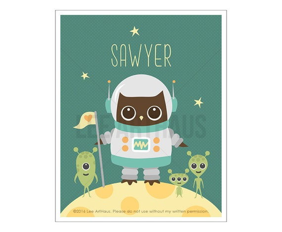115P Baby Boy Nursery Print - Personalized Space Owl with Aliens Wall Art - Owl Print - Custom Name Wall Art - Woodland Owl Nursery Wall Art