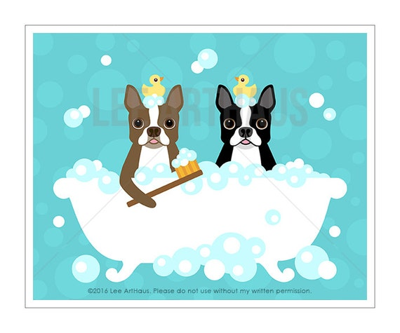 304D -Bath Wall Decor - Two Boston Terrier Dogs in Bathtub Wall Art - Red Boston Terrier Print - Boston Terrier Gifts - Bathroom Wall Art