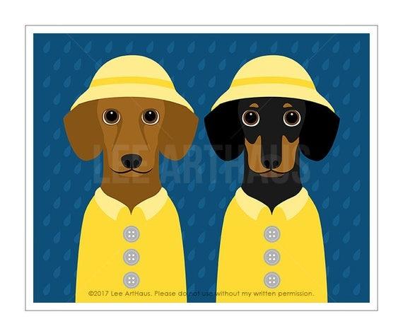 312D Dog Decor - Two Dachshunds Wearing Yellow Raincoats Wall Art - Dachshund Print - Pet Portrait - Pet Drawing - Dog Nursery Art - Dog Art