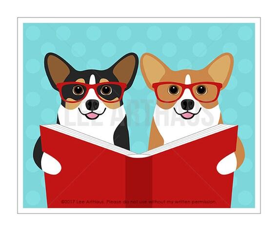 314D - Dog Decor - Two Corgi Dogs Reading Book Wall Art - Book Lover Gifts - Corgi Couple Gift - Dog Decor - Corgi Gifts - Dog Nursery Print
