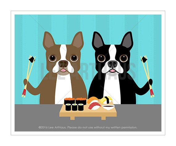 277D Dog Poster - Two Boston Terrier Dogs Eating Sushi Wall Art Print - Sushi Print - Modern Dog Art - Foodie Gift - Sushi Drawing