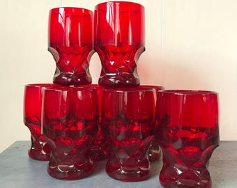 vintage red glasses - Anchor Hocking Royal Ruby Georgian thumbprint - footed water glass tumbler - red barware