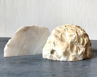 vintage geode bookends - white natural stone - paperweight - nature decor