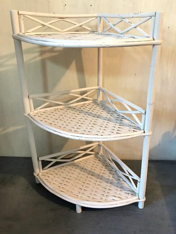 Vintage Wicker Corner Shelf White Rattan Three Level Shelf