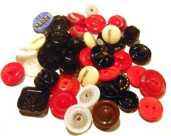 38 Vintage Glass Buttons