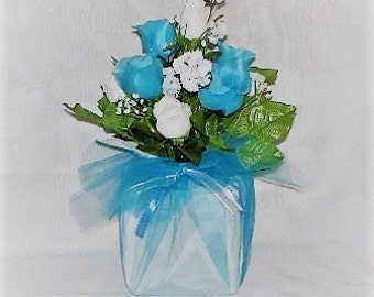 Wedding centerpiece silk Flower turquiose and white rosebud Decoration with wrapped blue tulle wedding flowers wedding table decoration