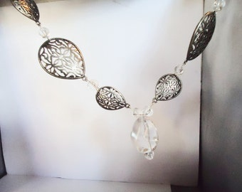 Filigree brass, glass, long necklace, large