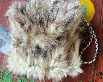 Vintage opossum fur foldover pouch shoulder bag with braided yarn cord dice tarot runes crystals