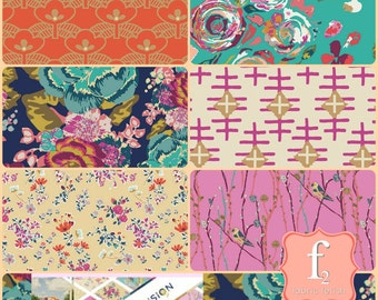 Boho Fusions 6 Six Piece Fabric Bundle  - Maureen Cracknell April Rhodes Katy Jones Bari J - Art Gallery Fabric AGF