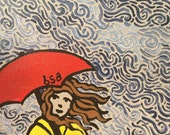 Windy Rainy Day Hand Painted Notecard