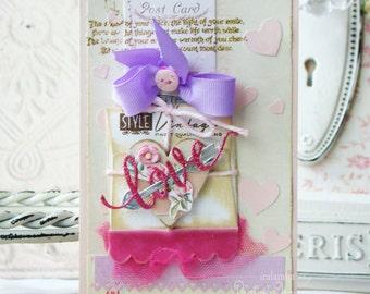 Love Handmade Card - Shabby Chic style greeting card Card, Christmas Card, Greeting Card