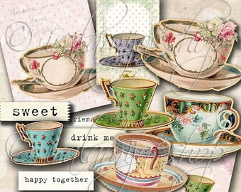 SALE TEA CUPS Collage Digital Images -printable download file Scrapbook Printable Sheet