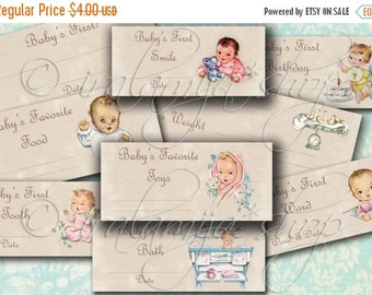SALE BABY TICKETS collage Digital Images -printable download file- Digital Collage Sheet - Vintage Paper Scrapbook - Vintage Baby - Labels