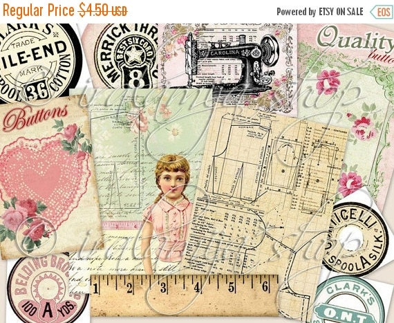 SALE SEWING ROOM No.1 Collage Digital Images -printable download file-