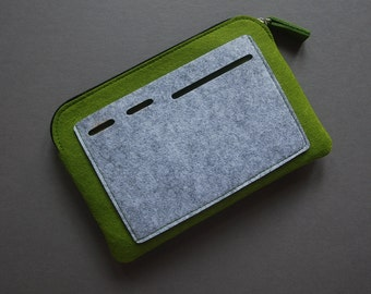Felt Zipper Bag, Tech Organizer Pouch, green/grey.